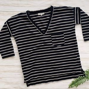 Madewell | Black and White Striped Zip Top